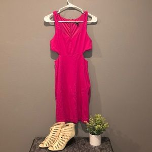Express brand bright pink cutout mini dress